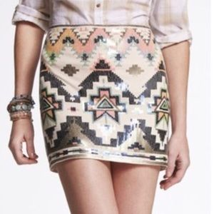 Express Sequin Stretch Aztec Boho Print Skirt Med